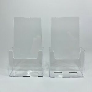 Trifold Brochure Pamphlet Holder Clear Durable Acrylic Plastic Tabletop 2 Pack
