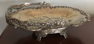 Antique Pairpoint Silver Plate Basket Bowl Floral 1257