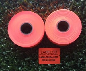 Monarch 1136 2 Line Fluorescent Red Labels 2 Rolls 3 500 Labels usa Made