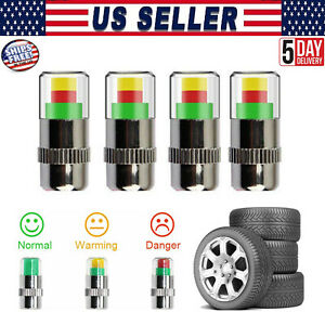 4x Car Tire Pressure Monitor Valve Stem Caps Sensor Indicator 3 Color Eye Alert