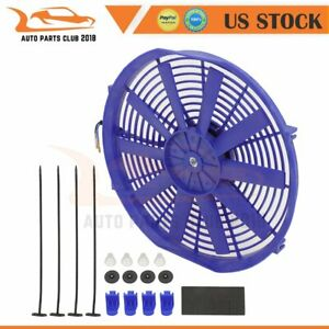 Automotive Radiator Cooling Fan Assembly Universal 14 Inch Blue Push Pull