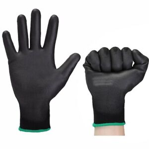 Lot 12 24 X Nylon Pu Safety Coating Work Gloves Builders Grip Palm Protect S M L