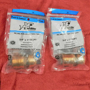 Lot Of 2 Sharkbite 3 4 In Dia X 1 In Dia Push To Mpt Brass Connector