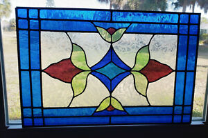 Stained Glass Transom Window Hanging 24 X 16 Ready To Be Framed Hung No Hooks