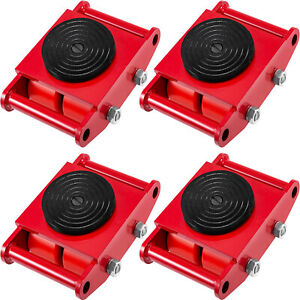4pcs set Machine Dolly Skate Machinery Roller Mover Cargo Trolley 13200lbs 6 Ton