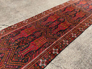 3x12 Vintage Runner Rug Wool Hand Knotted Antique Handmade Geometric Blue Red