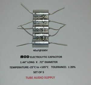 Mod Electrolytic Capacitor 40uf 500volt Axial Set Of 5