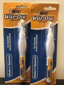 2 Bic Wite out Shake n Squeeze Correction Pen White Out Pack Of 2