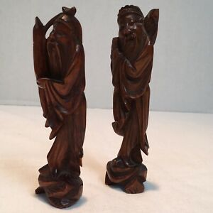 Vintage Rare Asian Chinese Hand Carved Rosewood Figurines