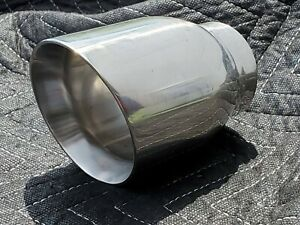 2 5 Inch Polished Stainless Round Exhaust Tip 2 1 2 Inlet 3 5 Outlet 5 Long