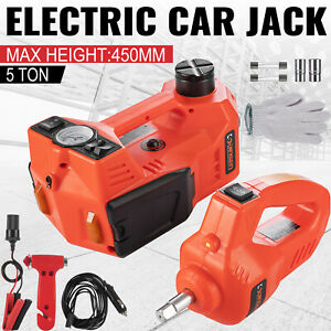 Car Jack Lift 12v 5ton Electric Hydraulic Floor Jack Impact Wrench Tire Tool Kit