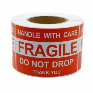 500 Fragile Stickers 4x6 Handle With Care Thank You Do Not Drop Warning Labels