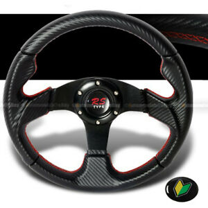 Universal Carbon Looks 350mm Pvc Red Stitches Steering Wheel With Horn Jdm