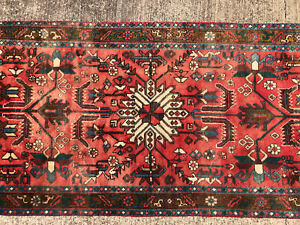 3x11 Red Vintage Runner Rug Wool Hand Knotted Antique Handmade Geometric Carpet