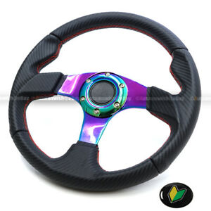 Universal Neo Chrome 320mm Carbon Leather Red Stitches 6 Hole Steering Wheel