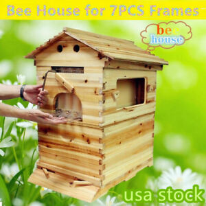Bee Frames House Super 2 layer Bee Keeping Box House Use For 7pcs Brood Hive Us