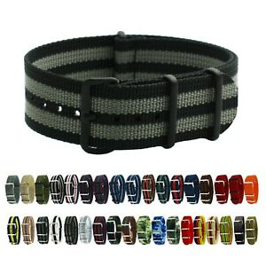 HNS Premium Ballistic Military Nylon Solid Stripe PVD Watch Replacement Strap $12.00