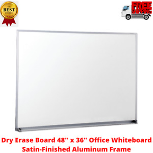 Dry Erase Board 48 X 36 Office Whiteboard Satin finished Aluminum Frame