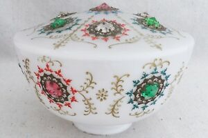 Antique Victorian Edwardian Crystal Prism Encrusted Glass Lamp Shade Fixture 9