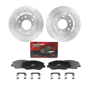 Rear Zinc Drill Slotted Brake Rotor Pad For Ford Mustang 2005 2010