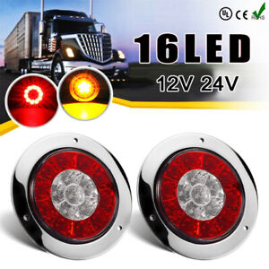 2x 4 Inch Round Red Amber Led Turn Stop Brake Trailer Tail Lights For Rv Truck