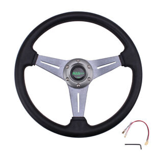 Us Sport Racing 340mm Deep Dish Leather 6 Bolt Steering Wheel With Horn Button