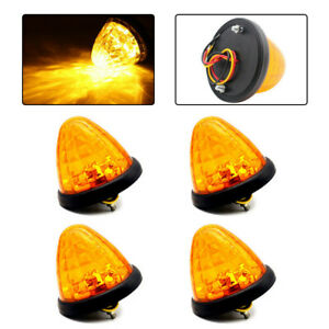 4pcs Amber Round Led Side Marker Beehive Cone Lights For Peterbilt Truck Trailer