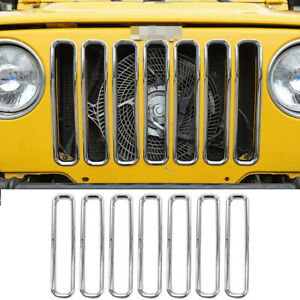 Front Grill Inserts Cover Trim Ring For Jeep Wrangler Tj 1997 2006 Chrome T