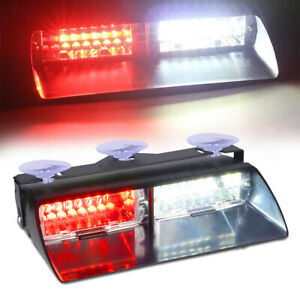 16 Led White red Strobe Flash Light Dash Emergency Car Interior Warning Lamp 12v
