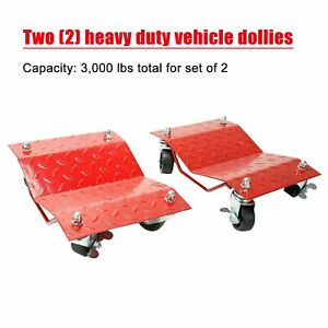 1 Set Auto Dolly Car Dolly Wheel Tire 12 X 16 Skate 3000lb Repair Slide Red