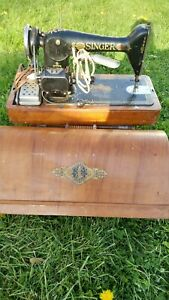 Antique 1910 Singer Treadle Red Eye Sewing Machine Travel Machine With Case Key
