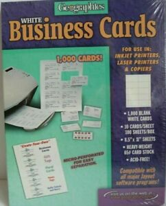 Geographics White Business Cards 1000 Ink Jet Laser Printers And Copiers Nib