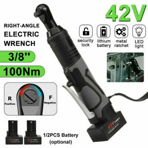 3 8 42v 100nm Cordless Electric Ratchet Right Angle Wrench Impact Power Toolset