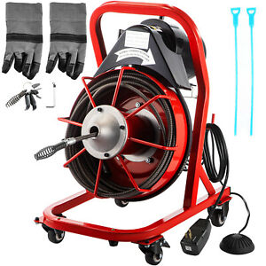 Vevor Drain Cleaner 50 X 3 8 Cleaning Machine W 4 Casters Plumbing Sewer Snake