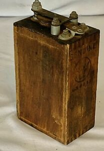 Antique Kw Ignition Coil For Ford Model T Wooden Dovetailed Battery Buzz Box