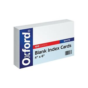 Oxford Blank Index Cards 4 X 6 White 100 pack