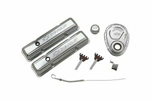 Proform 141 001 Chrome Engine Dress up Kit With Embossed Chevrolet bowtie Log