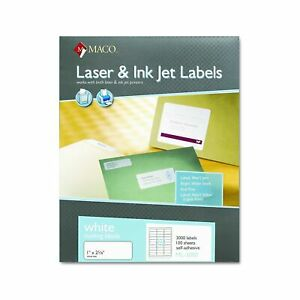 Maco Laser ink Jet White Address Labels 1 X 2 5 8 Inches 100 Sheets 3000 P