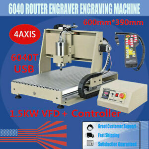 Usb 4 Axis Cnc 6040z Router Engraving Wood Drill milling Machine 1 5kw handwheel