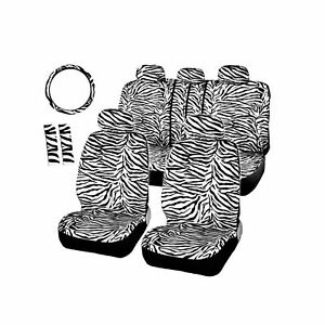 Autofan Zebra Car Seat Covers For Full Set With 2 Seat Belt Pads Universal