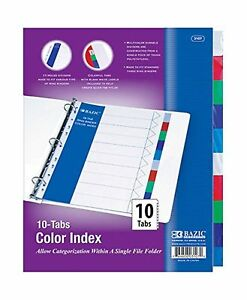 3 ring Binder Dividers With 10 Color Tabs For School Home Or Office