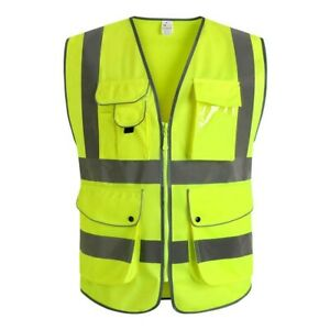 High Visibility Safety Vest Multi Pockets Yellow