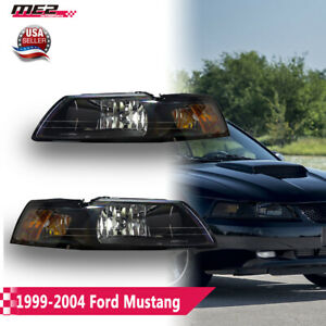 Fit 1999 2004 Ford Mustang Clear Lens Replacement Headlights Headlamps Pair