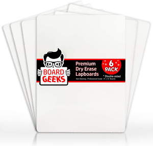 Board Geeks Dry Erase Lapboard 9 X 12 Inch Large 6 Pack Double sided Whiteboard