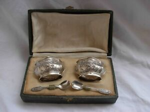 Pair Of Antique French Sterling Silver Crystal Salt Cellars With Spoons Early Xx