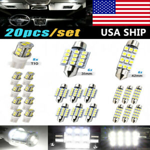 20x Combo Led Car Interior Inside Light Dome Map Door License Plate Lights Usa
