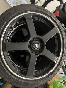 4 Motegi Mr116 8x18 Gloss Black Machined Stripe W goodyear Eagle Sport A s Tires