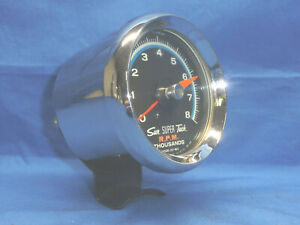 Vintage 1960 S Sun Blue Line Sst 802 8k Tachometer With Chrome Cup Day 2 Ct29
