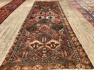 3x9 Antique Runner Rug Wool Hand Knotted Vintage Handmade Geometric Tribal 3x10
