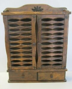 Vintage Wood Primitive Spice Cabinet Farmhouse 2 Drawer Apothecary Display Flaw